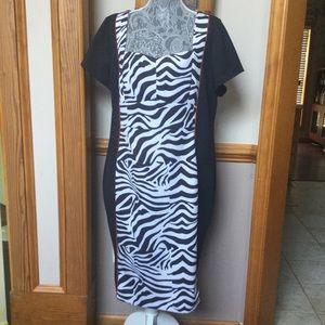 Zebra striped sheath dress